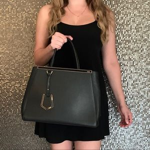 Fendi 2jours Black Leather Tote